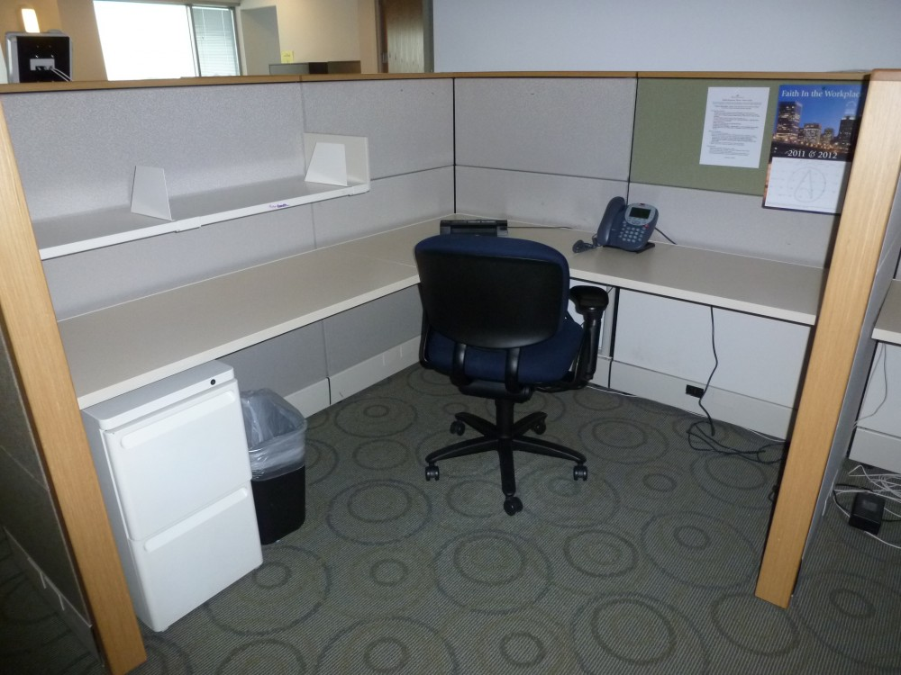 Wood Office Cubicles ~ Herman miller ethospace with wood trim office furniture