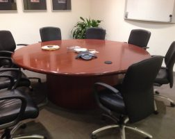 7' Round Cherry Conference Table