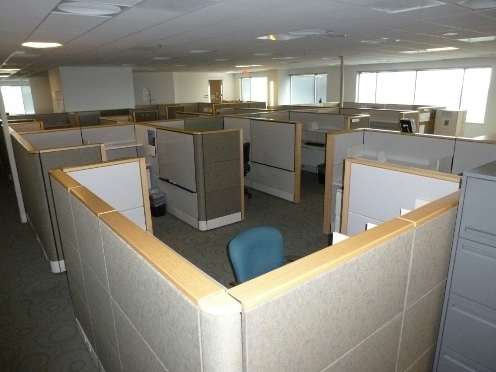 Wood Office Cubicles ~ Used herman miller ethospace with wood trim office