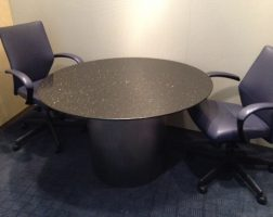 "Black Granite 48"" Round Meeting Table"