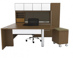 Cherryman U-Shaped Desk with Arc End