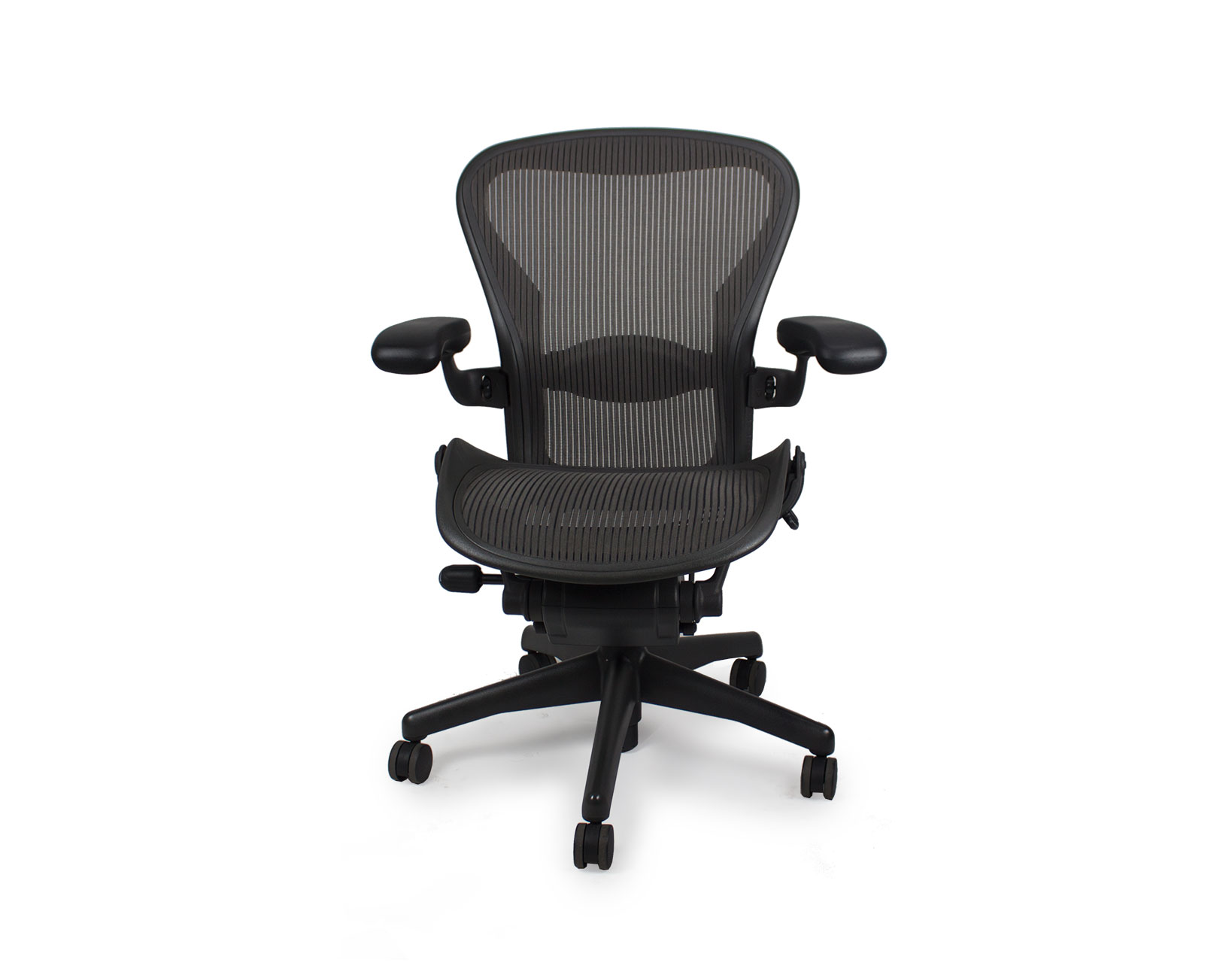 Used Herman Miller Aeron Chair Graphite Frame Classic Lead Pellicle Mesh Office