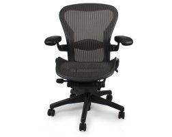 Herman-Miller-Used-Aeron-Chair-Graphite-Frame-Classic-Carbon-Pellicle-(Mesh)-front